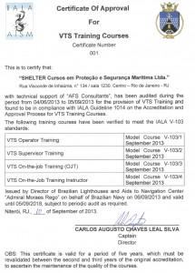 Certificado VTS NORMAM 26 (Inglês)