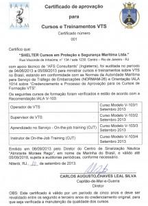 Certificado VTS NORMAM 26 (Português)